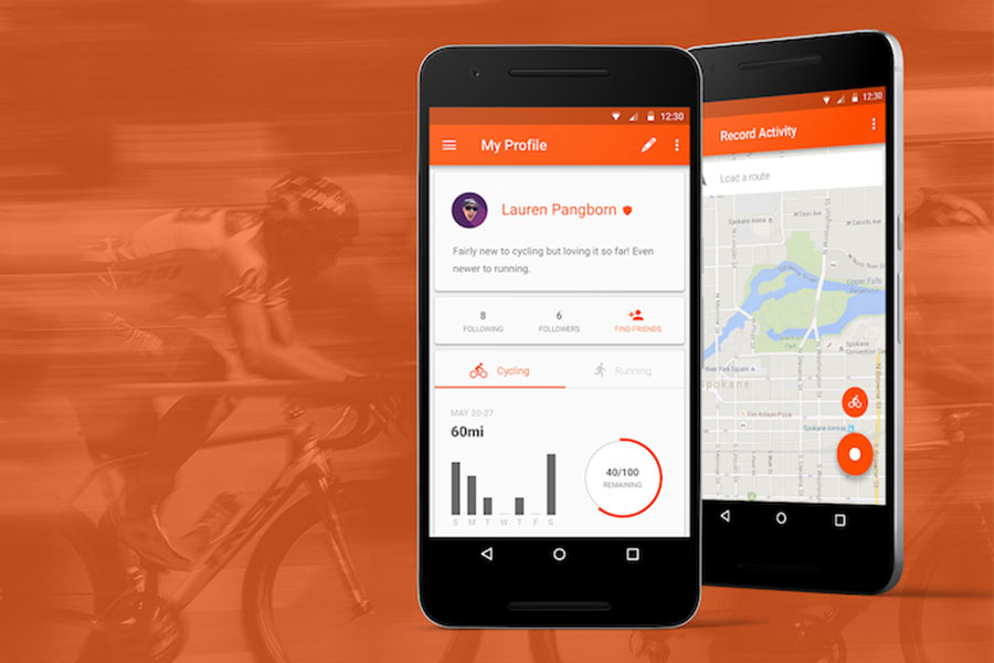 Mobile phones on an orange background displaying Strava fitness app