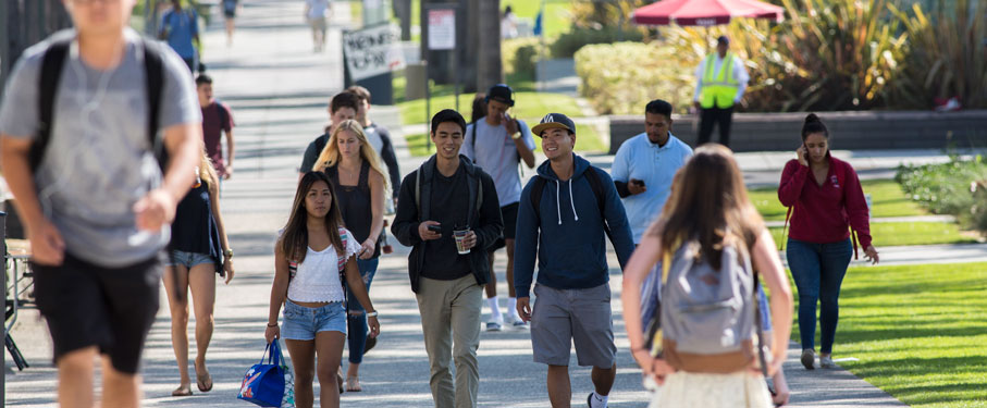 Students walking around LMU campus on Palm Walk