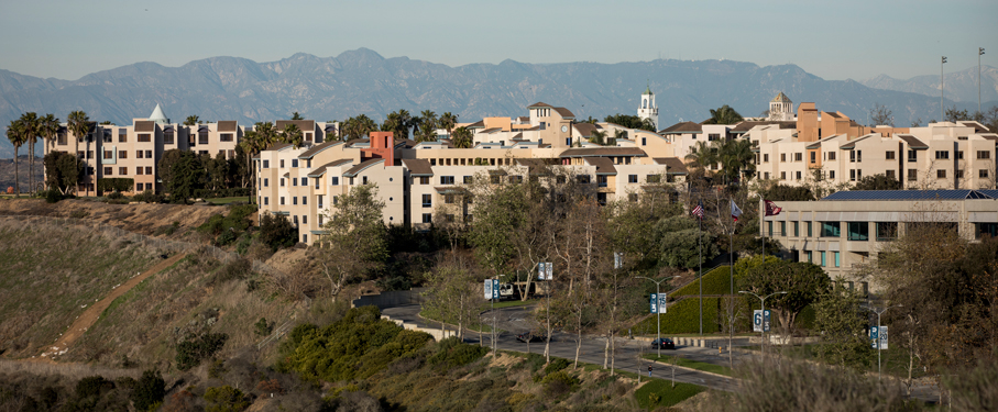 Panoramic view of 1 LMU Drive that includes most residence halls