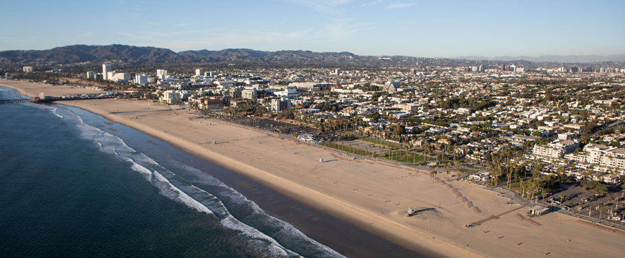 aerial view of the Pacific Ocean at Dockweiler Beach