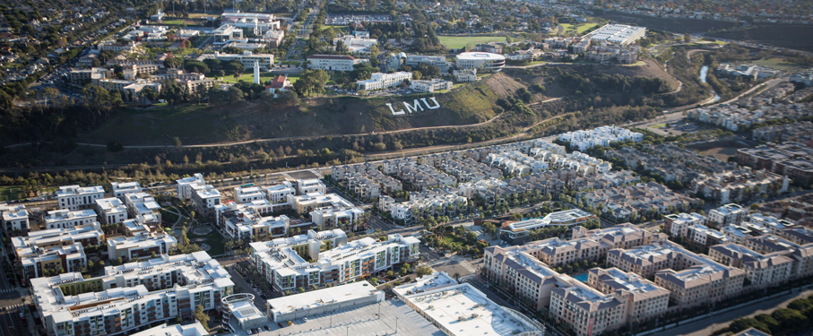 Panoramic aerial view of Playa Vista and the LMU bluff letters