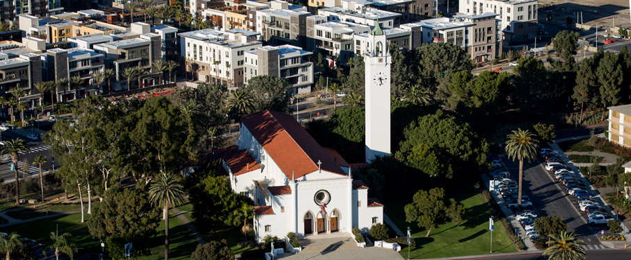 aerial view of Sacred Heart Chapel and Playa Vista
