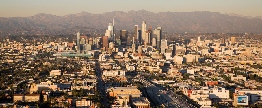 An aerial view of Downtown LA