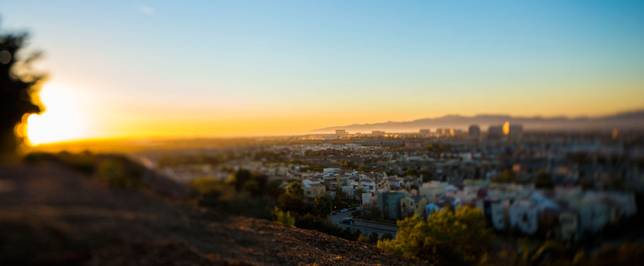 A view of the city from the Bluff at LMU